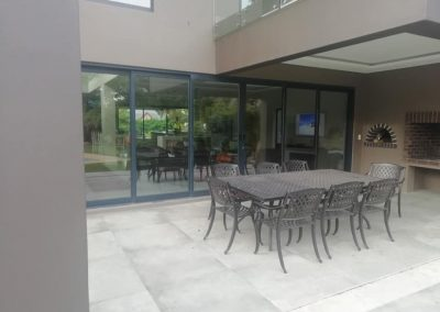 Aluminium doors and windows at patio